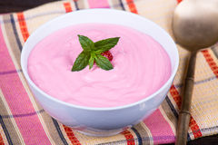 Strawberry and raspberry smoothie with cream cheese Stock Photography