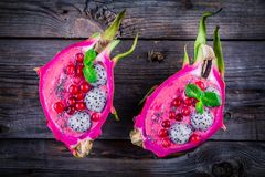 Strawberry and raspberrysmoothie with pitaya, cranberry, mint and chia seeds Stock Image