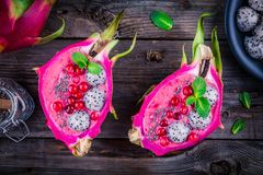 Strawberry and raspberrysmoothie with pitaya, cranberry, mint and chia seeds Royalty Free Stock Photo