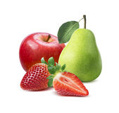 Strawberry, red apple, green pear composition  on white Stock Photos
