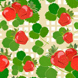 Strawberry Red Fruit Berry Colorful Seamless. Pattern Yellow Cell Background Vector Illustration Royalty Free Stock Image