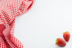 Strawberry and red napkin Stock Image
