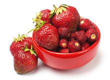 Strawberry with red plate Royalty Free Stock Images