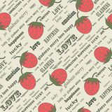 Strawberry repetition. Retro valentine background with strawberries Stock Photos