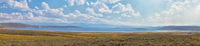 Strawberry Reservoir Bay in Late Summer early Fall panorama forest views along Highway 40 near Daniels Summit between Heber and Du stock image