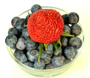 Blueberries and strawberry Stock Photography