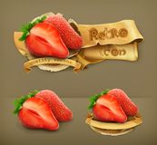 Strawberry retro vector icons Royalty Free Stock Photo
