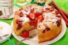 Strawberry and rhubarb cake stock photography