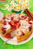 Strawberry and rhubarb cake stock photos