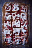 Strawberry and Rhubarb Cake royalty free stock photography