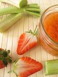 Strawberry rhubarb jam Stock Photography