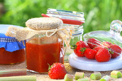 Strawberry rhubarb jam Stock Photo