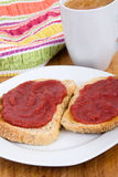 Strawberry and rhubarb jam on toast breakfast Royalty Free Stock Image