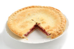 Strawberry rhubarb pie. Fresh baked strawberry rhubarb pie with shallow depth of field Royalty Free Stock Photography