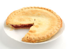 Strawberry rhubarb pie. Fresh baked strawberry rhubarb pie with shallow depth of field Stock Images
