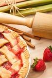 Strawberry Rhubarb Pie stock photos