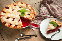 Strawberry and rhubarb pie Royalty Free Stock Photo