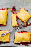 Strawberry and rhubarb pies Royalty Free Stock Images
