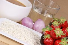 Strawberry rice ingredients Royalty Free Stock Images