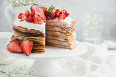 Strawberry and ricotta crepes cake Royalty Free Stock Images