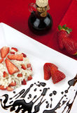 Strawberry risotto with traditional italian balsamic vinegar Royalty Free Stock Images