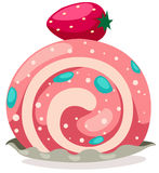 Strawberry roll cake Royalty Free Stock Photography