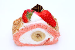Strawberry roll cake Stock Images