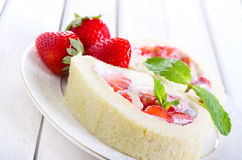 Strawberry roulade Royalty Free Stock Images