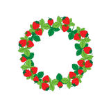 Strawberry round ornament . Vector Royalty Free Stock Photo