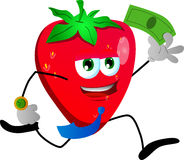 Strawberry running with money Stock Photography