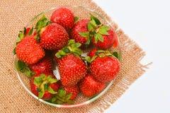 Strawberry on sacking Stock Photo
