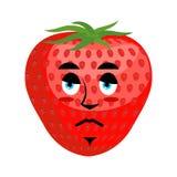 Strawberry Sad Emoji. Red berry sorrowful emotion.  Royalty Free Stock Photo