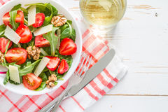 Strawberry salad in white bowl Stock Photography