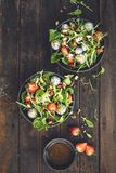 Strawberry Salade with Spinach, Dragon Fruit, Almond royalty free stock photos