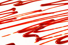 Strawberry sauce drizzles Stock Photo