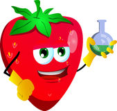 Strawberry scientist holds beaker of chemicals Stock Images