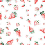Strawberry seamless background (vector). Seamless background made of strawberries of different shapes and sizes (vector version available stock illustration