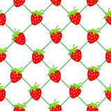 Strawberry seamless dotted white Stock Photos