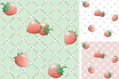 Strawberry seamless pattern backgrounds Royalty Free Stock Photos