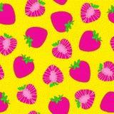 Strawberry seamless pattern. Bright pop art. Hand drawing. Royalty Free Stock Photo