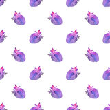 Strawberry. Seamless pattern with cosmic or galaxy strawberries. Hand-drawn original berry background. Real watercolor drawing vector illustration