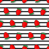 Strawberry seamless  pattern in a flat style Royalty Free Stock Image
