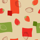 Strawberry seamless pattern graphic art red green beige color illustration Royalty Free Stock Photos