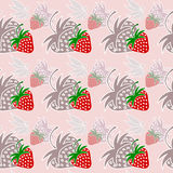 Strawberry seamless pattern with shadow pink Stock Photo