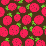 Strawberry. Seamless pattern, simple flat design Stock Photos