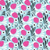 Strawberry. Seamless pattern. Vector floral texture with pink forest berries on blue background Stock Photos
