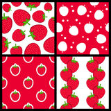 Strawberry Seamless Patterns Set Royalty Free Stock Image