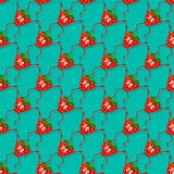 Strawberry seamless vector composition. Cute seamless pattern with funny strawberries, berry. Funny, cartoon fruit Royalty Free Stock Photography