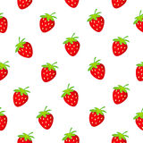 Strawberry seamless white Royalty Free Stock Photos