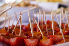 Strawberry. Serving Dish During a cocktail Stock Image